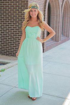 Crochet Mint Maxi Dress | uoionline.com: Women's Clothing Boutique