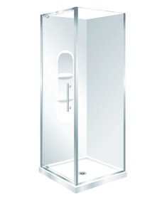 Features Low profile tray with 40mm upstand Tray is Centre Waste as standard but also available in Corner Waste. 1950mm high glass. 6mm safety glass Safety Standard Pivot Door Modern 1-piece design left hand model. One piece acrylic lining with moulded shelf.  Available in Silva and White