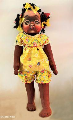 Unknown OOAK Girl by Robert Zacher – DeeBeeGee's Virtual Black Doll Museum™ Doll Museum, Yarn Braids, Brown Paint, Doll Painting, Fruit Print, Art Dolls, Sculpting, Arms, Floral Prints