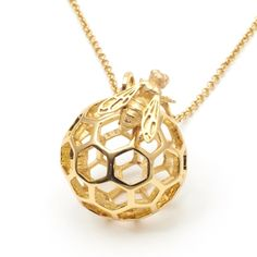 Honeycomb Bee Orb Necklace by Bill Skinner