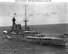 HMS HOOD off Honolulu, 1924, via Flickr. // Sunk at the Battle of the Denmark Strait, with three survivors, 24 May 1941.