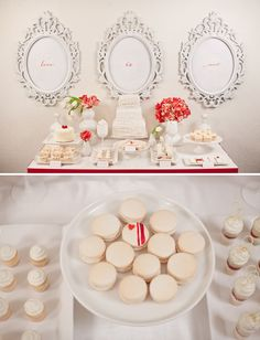 Dessert Table - Sou apaixonada por molduras provençais. Olha que lindas essas ao fundo da mesa de doces!