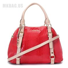 MICHAEL Michael Kors Bedford Extra Large Bowling Satchel Red    Items Description  * Red python-embossed leather.  * Golden hardware.  * Top handles with square rings; buckled straps down front.  * Removable/adjustable buckled shoulder strap.  * Hanging MK circle logo charm.  * Michael Kors logo at top center.  * Continental zip top.  * 16cm H x 13cm W x 6cm D.  * Imported.