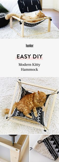 Your Cat is Going to Lurve This Modern DIY Kitty Hammock, Diy And Crafts, This is perfect for pet parents who want to give their a cozy place to lounge that matches your home's modern aesthetic. Your kitty will lov. Diy Décoration, Easy Diy, Diy Cat Hammock, Cat Tent, Cute Dorm Rooms, Album Design, Cozy Place, Cat Furniture, Diy Stuffed Animals