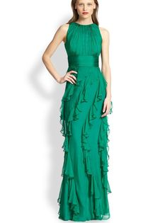 Evening Gowns With Sleeves, Formal Wear, Formal Dresses, Dior, Silk Gown, Green Silk, Badgley Mischka, Green Dress, Beautiful Dresses
