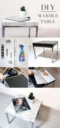 diy marble table - Ikea DIY - The best IKEA hacks all in one place Diy Marble, Marble Top, Furniture Makeover, Diy Furniture, Apartment Furniture, Furniture Projects, Furniture Plans, Diy Casa, Ideias Diy