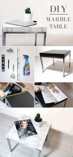 DIY Marble Table - Pimp your Ikea table with marble #diy #doityourself #marble #table #marmeren #tafel #followfashion #interior #interiordesign