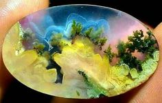 The world in a stone!!!                      A real beauty - Moss Agate Cabochon Photo: Marco Frigerio