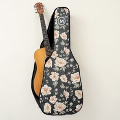 Monogram. Wheat Laurel Wreath on Flowers Guitar Case - diy cyo customize create your own personalize
