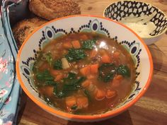 A recipe for a hearty lentil and spinach soup. Perfect sprinkled with shavings of parmesan and a hunk of crusty bread on a horrible, wet winter's day.