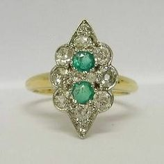 ANTIQUE 18CT GOLD 1.2CT DIAMOND & EMERALD MARQUISE SHAPE RING