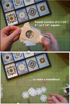 Cute idea for inchies and twinchies. How to make medallions using corner punches - by Laura. Card Making Tutorials, Card Making Techniques, Making Ideas, Paper Punch Art, Punch Art Cards, Paper Medallions, Craft Punches, Scrapbook Cards, Homemade Cards