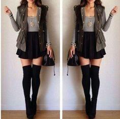 Striped long sleeve | sleeveless vest | high waisted skirt | knee high socks