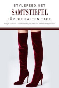 Es wird immer kälter und festlicher - da glänzt du ganz besonders mit diesen roten Samt-Overkneestiefeln und stimmst alle Neider in Weihnachtsstimmung! Velvet Red Overknee boots / Trend Boots / Shoe Fashion / Fashionable Shoes / Overknee Trend / Schuhe für Frauen / Stiefel für Frauen | Stylefeed