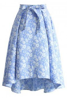 Sky Blue Jacquard Floral Waterfall Skirt - Skirt - Bottoms - Retro, Indie and Unique Fashion