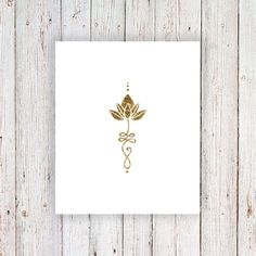 Gold unalome lotus temporary tattoo / gold temporary by Tattoorary