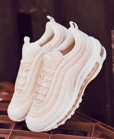Our most stylish shoe of the month award goes to this new Nike Air Max 97 OG sho. - - Our most stylish shoe of the month award goes to this new Nike Air Max 97 OG shoe in pink and white. It ranks as our favourite Nike Air Max 97 OG shoe. White Nike Shoes, Nike Air Shoes, White Nikes, Pink Shoes, Cool Nike Shoes, Baby Shoes, Retro Shoes, New Shoes, Adidas Shoes