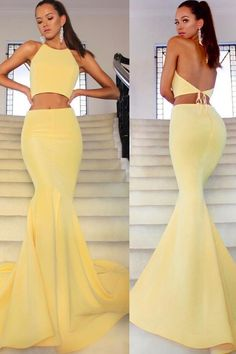 two pieces long prom dresses, formal yellowe mermaid evening dresses, fashion backless junior prom dresses for teens Prom Dresses Long Pink, Prom Dresses Two Piece, Cheap Prom Dresses, Prom Party Dresses, Dresses For Teens, Sexy Dresses, Dress Prom, Two Piece Long Dress, Pink Dresses