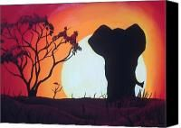 African Elephant Red Sunset Painting by James Dunbar - African Elephant Red Sunset Fine Art Prints and Posters for Sale