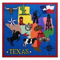 Fun Time Texas Multi Colored 51 In. x 51 In. Area Rug, Blue