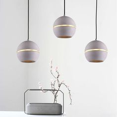 Concrete Pendant Lighting Ceiling Lamp Round Ball Design Silver Grey Colour