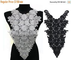 SALE Black Necklace Collar Applique Embellished with Various Beads