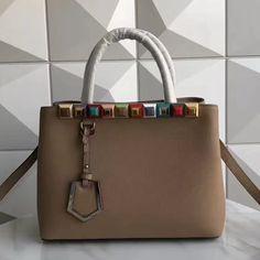 25e09d9dbe09 Fendi Calfskin 2Jours Bag With Multicoloured Studs Brown 2017 Fendi Bags