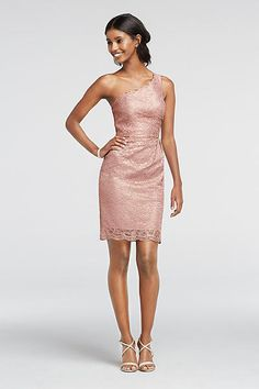 Short One Shoulder All-Over Metallic Lace Dress F19054M