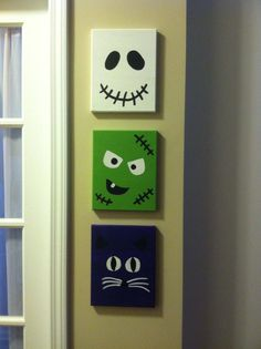 Set of Three Halloween faces canvases 8x10. Cat by KingKraftyPants, $30.00