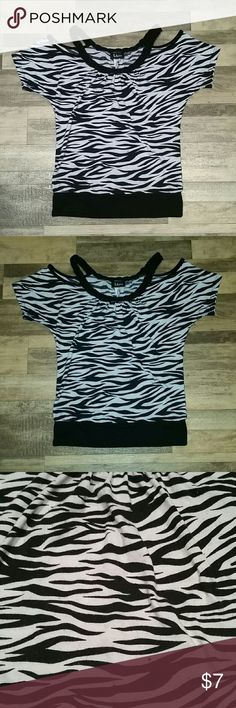 Selling this Deb Zebra Print Cold Shoulder Top on Poshmark! My username is: leb516. #shopmycloset #poshmark #fashion #shopping #style #forsale #Taboo #Tops