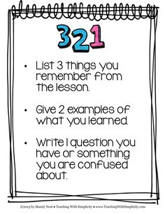 Free poster download!  The 3-2-1 Strategy is one example of many formative…