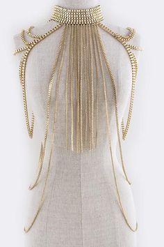 2 Colors Body Armor Big Scarf Pendant Ladies Bib Shoulder Choker Necklace Gold Silver Harness Slave Box Chain Jewelry BDC801