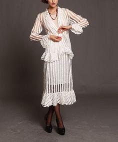 Look what I found on #zulily! Cream & Sheer Stripe Skirt Suit Set - Women & Plus by Jerry T Fashion #zulilyfinds