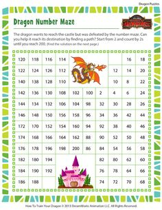 Dragon Number Maze - Free Online Dragon Puzzles