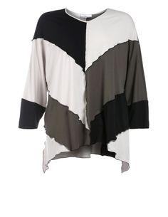 Mehrfarbiges Jerseyshirt von Turbulence in Olive-Grün / Creme. Designermode ab Größe 42 navabi