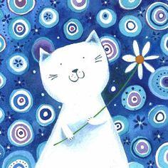 jane heyes: White Cat With Flower #catdrawing