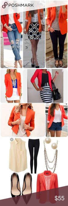 Cute dark coral blazer Worn once! In perfect condition!! Super cute dark coral orange blazer. One button closure, faux pockets. First few pics are for styling recommendations/suggestions only.  Not the actual item. Arden B Jackets & Coats Blazers