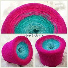 Pink Ocean: Hochbauschacryl 3 fädig 6 Farben: eisblau aqua oceangrün neonpink fuchsia magenta