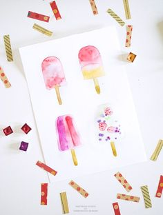 DIY watercolor popsicle art - Inkstruck Studio for Dawn Nicole Designs | these would be so fun to make using Dual Brush Pens!