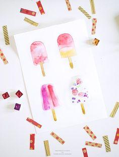 DIY watercolor popsicle art - Inkstruck Studio for Dawn Nicole Designs | these would be so fun to make using Dual Brush Pens!