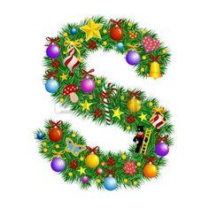 Letter S Christmas tree decoration Alphabet Stock Vector
