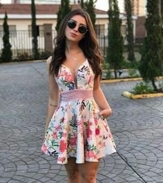 Stylish Outfits, Cool Outfits, Summer Outfits, Summer Dresses, Floral Fashion, Skirt Fashion, Fashion Dresses, Cute Dresses, Short Dresses