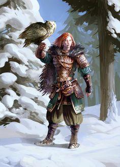 Almost Athena - Viking huntress Frenja with her eagle owl Hugur by Johannes Figlhuber