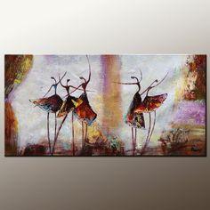 Oil Painting Ballet Dancer Painting Canvas Art  Framed Art Modern Art Abstract Impasto Texture Oil Painting Palette Knife Art Original Art