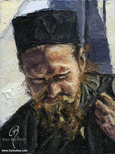 www.baloukos.com Portraits from greek Monks Landsacape paintings from Greece