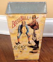 Vintage baseball trash can Vintage Baseball Room, Vintage Sports Nursery, Baseball Bathroom, Baseball Decorations, Decorating Ideas, Decor Ideas, Hall Bathroom, 4 Kids, Kids Rooms