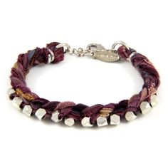 Braided Multi Purple Vintage Ribbon Bracelet with Intertwined Silver Faceted Beads