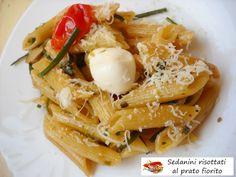 Sedanini risottati al prato fiorito. Che buona la pasta risottata, cioè cotta coni l metodo di cottura del risotto. Mantiene bene la cottura, è più gustosa