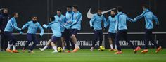 FC Barcelona's players exercise during a training session at the Sports Center FC Barcelona Joan Gamper in San Joan Despi, Spain, Saturd...