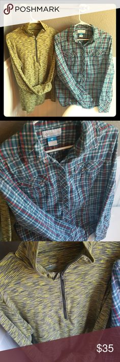GREAT CONDITION Columbia Bundle of Tops! Selling a GREAT CONDITION Columbia Bundle of Tops! Both are in superb condition, the Flannel is a Pearlized Button Top, and the marled zips up in front. One says XL and the other says L but both fit like a medium / large. Columbia Tops
